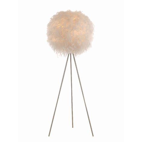 LED Lampadaire Trepied 'Pauline' en textile pour chambre à coucher