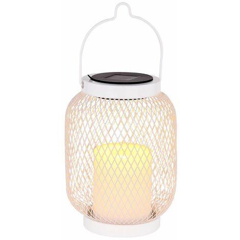 LED lámpara colgante solar soporte linterna blanco jardín decoración rejilla mesa foco iluminación exterior efecto de fuego Globo 33542
