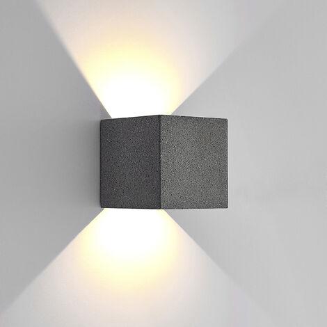 LED Lámpara de pared Led exterior 'Naja' (Moderno) en Gris (2 llamas, A+) de Lucande | lámparas de pared LED para exterior aplique, lámpara LED para exterior, aplique para pared exterior/fachada