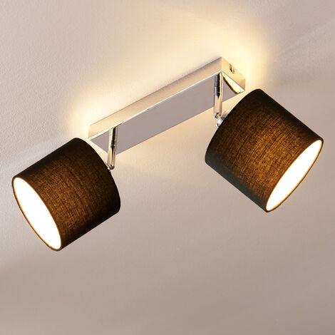 LED Lámpara de techo 'Mairi' (Moderno) en Negro hecho de Textura, Tela, Tejido, Seda e.o. para Salón & Comedor (2 llamas, E14, A+) de Lindby | lámpara de techo textil, lámpara de techo, lámpara
