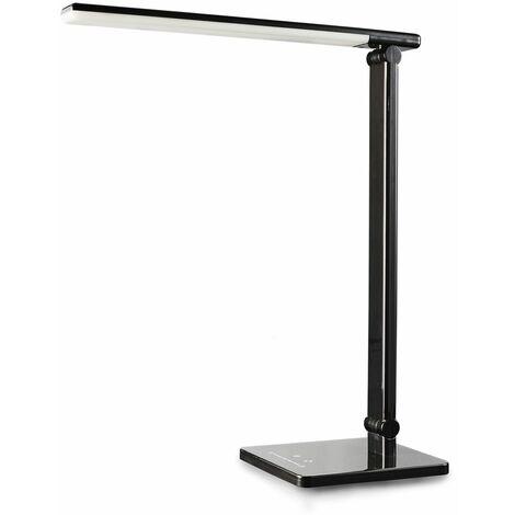 LED Lámpara Escritorio negro de Mesa 5W con USB, 7 Niveles de Brillo, 5 Temperaturas de Color, Control Táctil, Flexos plástico para Estudio Lectura Leer