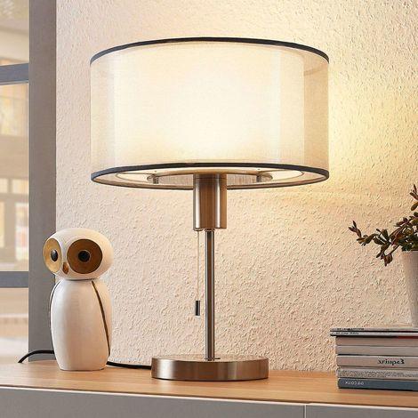 LED Lampe à poser à intensité variable 'Amon' en textile pour salon & salle à manger