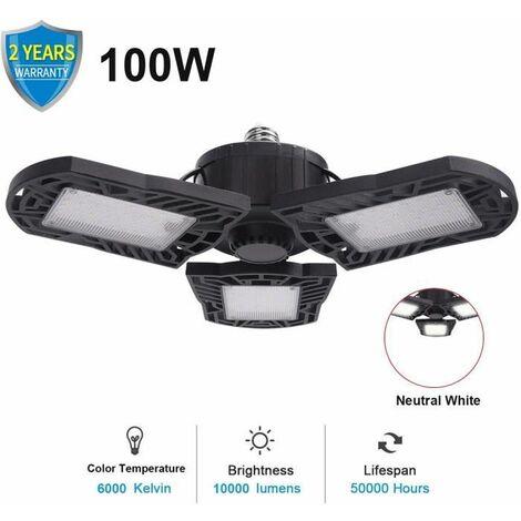 LED Lampe De Garage Plafonnier d'eclairage a Deformable 100W E27 10000Lm Blanc Froid 6000K Ampoule Lampe a 3 panneaux ajustables