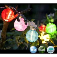 LED Lampion-Lichterkette - Deuba - 12 Lampions in 6 Farben - Batteriebetrieben - Bis zu 192 stunden Leuchtdauer