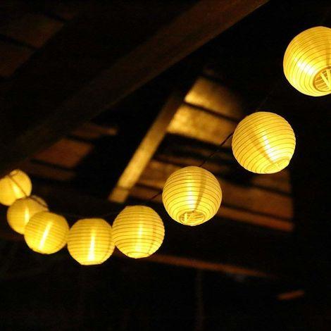 LED Lampion-Lichterkette warmweiße Lichterkette Gartenbeleuchtung 8 Beleuchtungsmodi, 10 Meter mit 40 Lampions