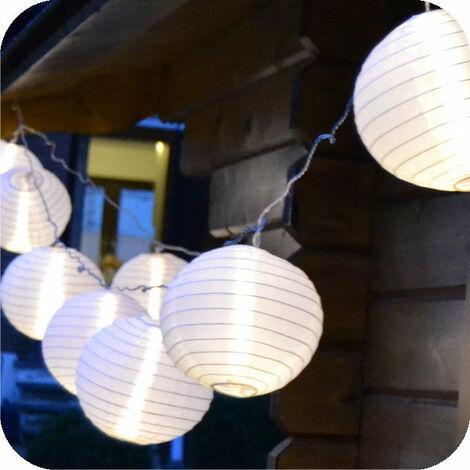 LED Lampionkette 3,6m mit 10 XXL Lampions weiss