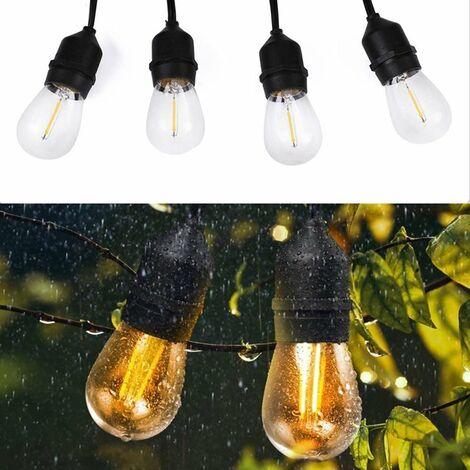 LED Lichterkette mit E27 Glühbirne Birne Leuchtmittel wasserdicht IP65