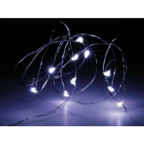 LED-Lichterkette, Silberdraht, 10 LEDs, kaltweiß, Batteriebetrieb