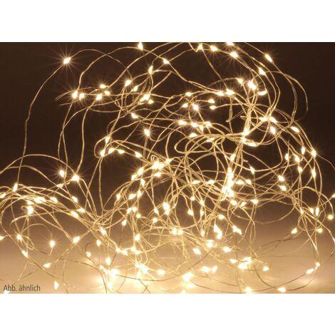 LED-Lichterkette, Silberdraht, 100 LEDs, warmweiß, Batteriebetrieb, Timer
