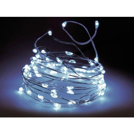 LED-Lichterkette, Silberdraht, 20 LEDs, kaltweiß, Batteriebetrieb
