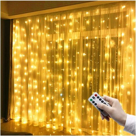 LED Light Curtain 3 m x 3 m 300 LEDs USB String Lights Curtain IP65 Waterproof 8 Modes String Lights Warm White for Party Decoration Bedroom Wedding Birthday Garden Window Indoor and Outdoor Decoration