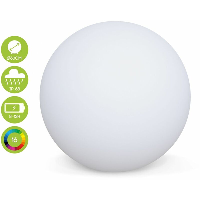 Image of LED light 60cm - Decorative bright sphere, 16 colours, Ø 60 cm, wireless induction charger.