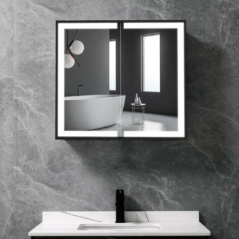 LED Light Up 2-Door Bathroom Mirror Cabinet 650(W)*600(H)*135(D)mm