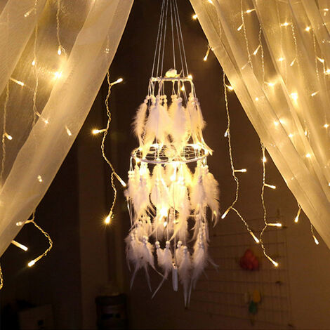 LED Light Up Feather Dream Catcher White Dual Layer Dreamcatcher