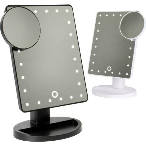 "main image of ""LED Light Up Illuminated Make Up Bathroom Mirror With Magnifier   Pukkr White - White"""