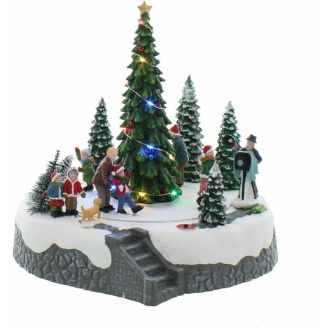 LED Lit Animated Musical Snowy Christmas Tree Photograph Taking Family Scene