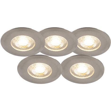 LED Lot de 5 spots encastrables argent dimmable en 3 étapes - Ulo Qazqa Moderne Luminaire exterieur Luminaire interieur IP44 Rond