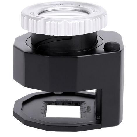 LED Loupe 30x echelle reglable Grossissement pliante Loupe metal Table type miroir avec echelle de petite taille de lecture Miroir Bijoux Loupe avec 3 lumieres LED 3 lumieres UV, Noir