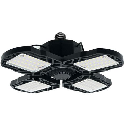 Led luces de garaje deformable LED plegable ajustable de la lampara de techo, luz llevada E27, Negro, 4 paneles LED y 80W