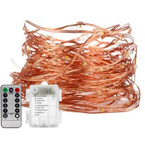 LED luces de hadas, lampara de alambre de cobre, cadena de luces navidenas, con control remoto