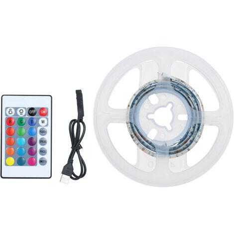 LED luces de tira Kit para 15LEDs longitud dormitorio 0.5m 5050 RGB control remoto Cambiar de color impermeable luz de tira para la decoracion del hogar barra de bar, blanca, 0.5m