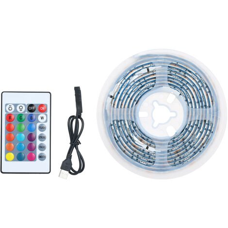 LED luces de tira Kit para 60LEDs longitud dormitorio 2m 5050 RGB control remoto Cambiar de color impermeable luz de tira para la decoracion del hogar barra de bar, blanca