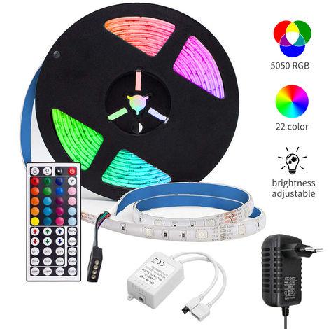 LED luces de tira Kit para el dormitorio 5m / 150LEDs longitud de 16,4 pies 5050 RGB control remoto Cambio de color a prueba de agua fuente de alimentacion 12V luz de tira