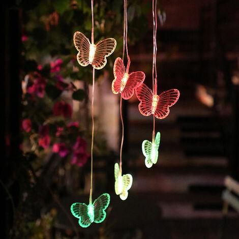 LED luces solares de jardin que cuelga luces de colores colgando en forma de pajaro de la mariposa de la lampara LED Camino Calzada del cesped patio trasero de iluminacion impermeable al aire libre del paisaje de la lampara decorativa, tipo 2