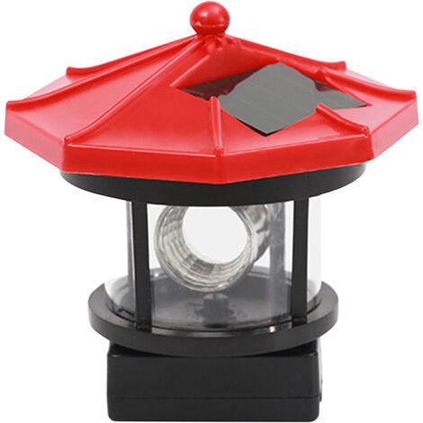 LED luces solares de jardin rotatoria y luces de la torre de la forma LED con energia solar Lampara colgante Camino del cesped patio trasero iluminacion de la decoracion al aire libre impermeable de la lampara del paisaje, Rojo