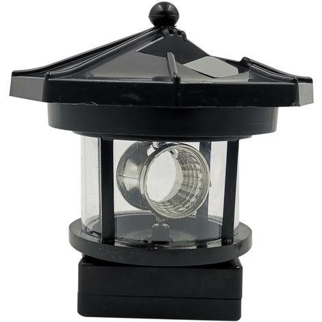 LED luces solares de jardin rotatoria y luces de la torre de la forma LED con energia solar Lampara colgante Camino del cesped patio trasero iluminacion de la decoracion, Negro
