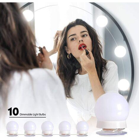 LED Lumière de Miroir Coiffeuse,Hollywood Kit de Lumière LED Dimmable 10 Ampoules Luminosité Réglable 3 Couleurs 10 Niveaux de Luminosité LED Miroir Maquillage Lampe pour Cosmétique Salle/Coiffeuse