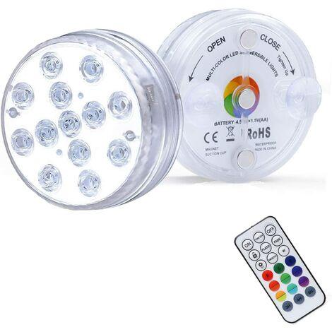 LED Lumiere Piscine Lumière LED Submersible, Éclairage IP68 Lampes Sous-Marines Multi-couleur avec Télécommande, Lumières de Baignoire Étanche, pour Aquarium Baignoire Piscine-2PCS
