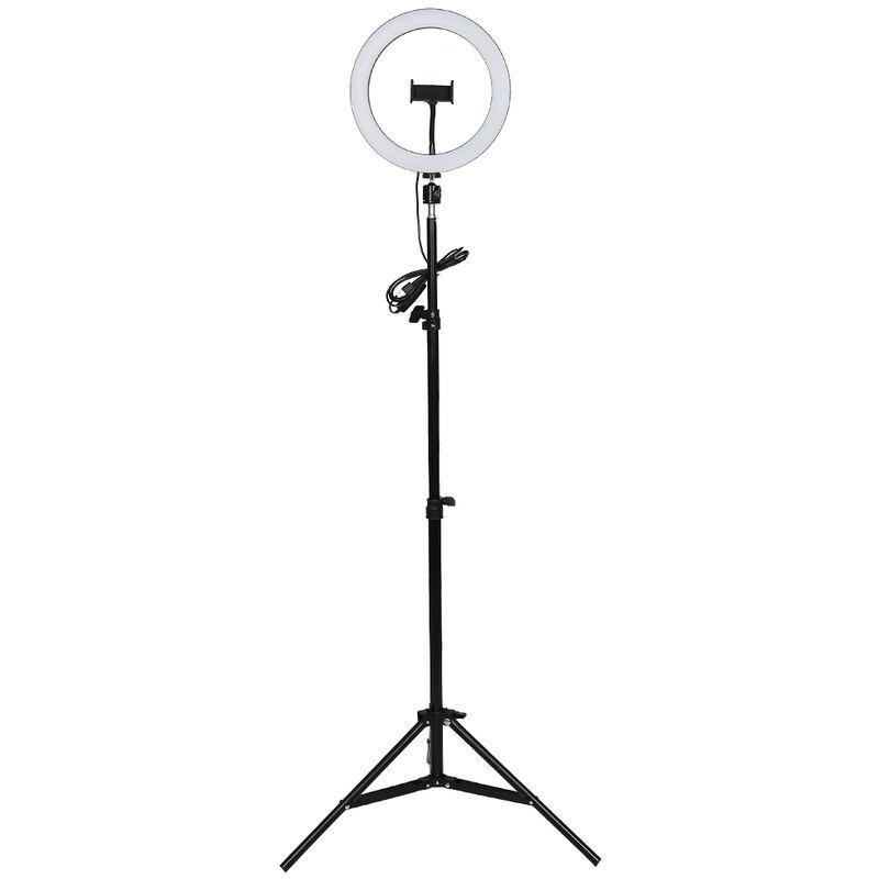 Yongqing - LED Lumière Anneau 10 Pouces Réglable Vidéo Eclairage Kit 6 - 15 w avec Support - Blanc