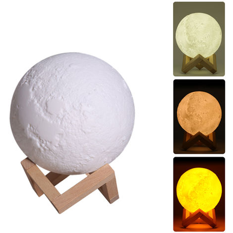 LED Lunar Air Humidifier 3D Moon Lamp Diffuser Aroma Essential Oil USB Rechargeable Ultrasonic Mist Purifier 880ml