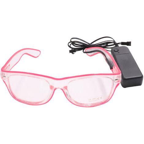 Led Lunettes 10 Couleurs En Option Light Up El Fil Neon Rave Lunettes Twinkle Party Glowing Club Holiday Bar Verres Decoratifs, Rose