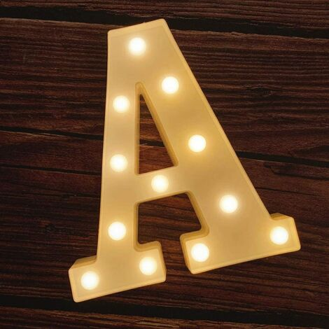 LED Marquee Letter Lights 26 Alphabet Light Up Marquee Number Letters Sign for Wedding Birthday Party Battery Powered Christmas Lamp Night Light Home Bar Decoration (A)