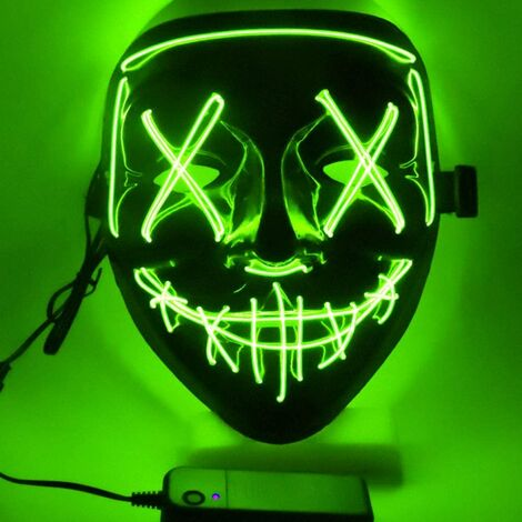 """main image of """"LED Mask Carnival Halloween Purge Election Masks in LED Light Mask for Halloween Festival Cosplay Costume Party Decorations, Battery Powered (Green)"""""""