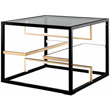 LED mesa de sofá lateral placa de vidrio angular 3 pasos regulable sala de estar lámpara muebles negro Fischer luces 40206