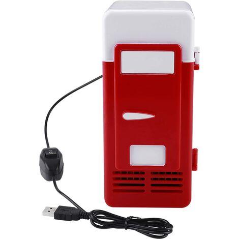 LED Mini USB Réfrigérateur Portable USB Réfrigérateur Boissons Canettes De Boisson Réfrigérateur et Chauffage Pour Voiture, Bureau Et Maison(rouge)