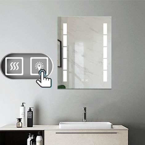 miroir salle de bain 60x45cm anti bu e mural led lumi re. Black Bedroom Furniture Sets. Home Design Ideas
