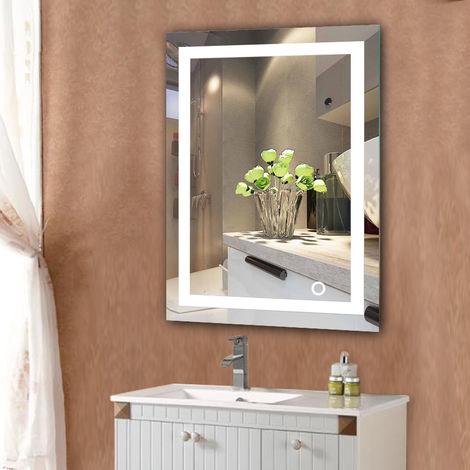 LED Miroir de salle de bain Mural- Blanc froid 6500K commutateur tactile Haute Qualité 60x80cm