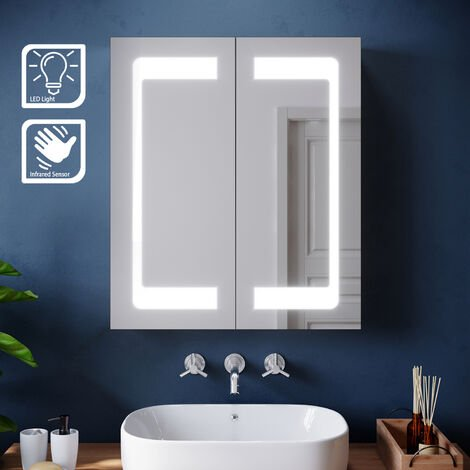 LED Mirror Cabinet Stainless Steel Frame Modern Bathroom Wall Storage Mirror 600 x 700mm with Lights Sensor Switch