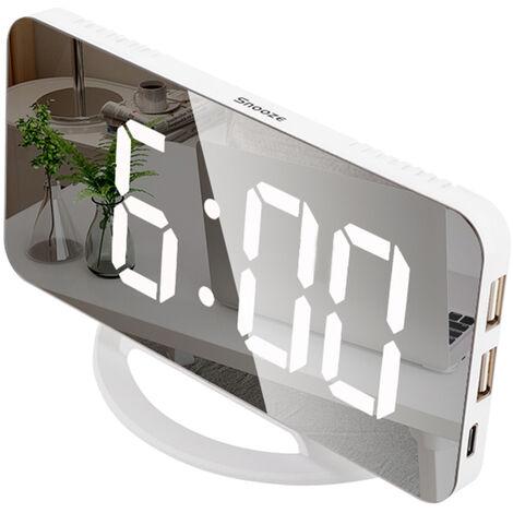 "main image of ""LED Mirror Clock Mini Digital Alarm Clock Table Clock with Snooze Function 3 Adjustable Brightness Auto-Adapt Backlight"""