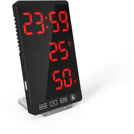 """main image of """"LED mirror clock, thermometer and hygrometer, electronic weather clock, alarm clock, red letters--"""""""