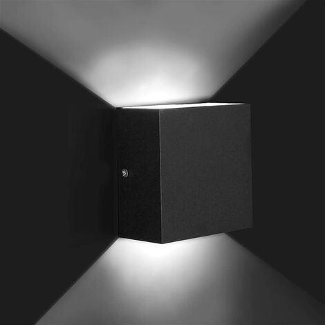 LED Modern Wall Lamp 6W Cool White Cube Creative Wall Light Simple Chandelier for Corridor Loft Black(2x)