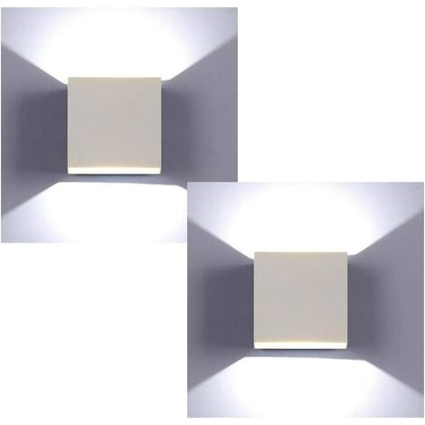 LED Modern Wall Lamp 6W Cool White Cube Creative Wall Light Simple Chandelier for Corridor Loft White(2x)