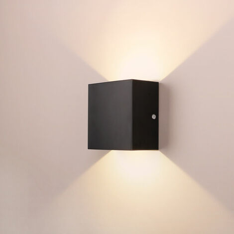 LED Modern Wall Lamp 6W Warm White Cube Creative Wall Light Simple Chandelier for Corridor Loft Black