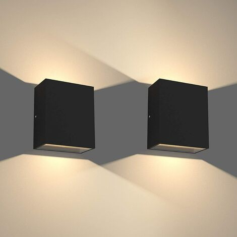 LED Modern Wall Lamp 6W Warm White Cube Creative Wall Light Simple Chandelier for Corridor Loft Black(2x)