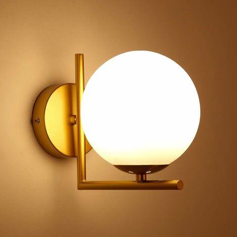 LED Moderna Aplique de pared Cortina de cristal del Globo (Blanco)E27 Luz de pared en baño Para Dormitorio Pasillo(Dorado)