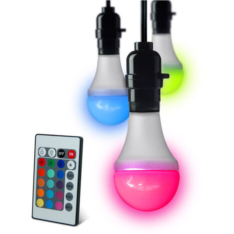 LED Mood Lighting Colour Changing Bulb Edison Screw Fit Cap & Remote